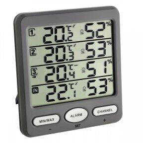 Bevielis termometras higrometras su 3 belaidėmis stotelėmis KLIMA MONITOR TFA 30-3054-10