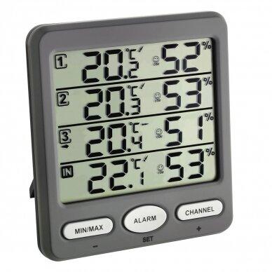 Bevielis termometras higrometras su 3 belaidėmis stotelėmis SU METROLOGINE PATIKRA KLIMA MONITOR TFA 30-3054-10
