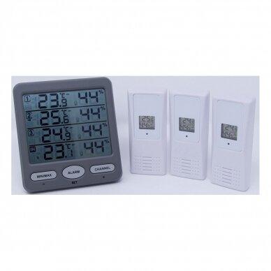 Bevielis termometras higrometras su 3 belaidėmis stotelėmis SU METROLOGINE PATIKRA KLIMA MONITOR TFA 30-3054-10 3