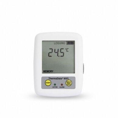 Daugkartinis temperatūros registratorius ThermaData TD su vienu vidiniu sensoriumi, max/min funkcija, aliarmu ir WiFi su METROLOGINE PATIKRA ETI 298-001