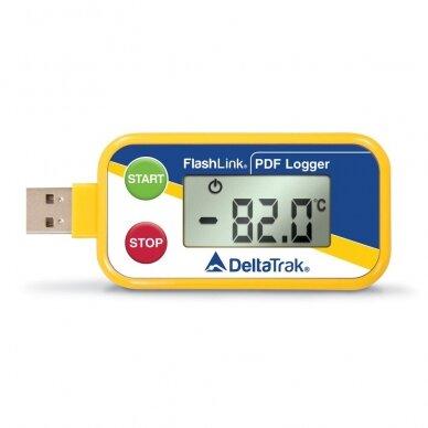Vienkartinis sauso ledo temperatūros registratorius Delta Trak FlashLink® Dry Ice USB PDF In-Transit Logger