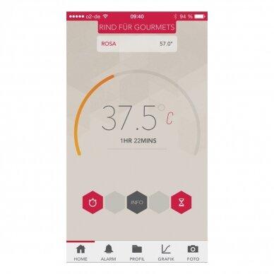 Termometras skirtas matuoti maisto temperatūrą su išmaniuoju telefonu TFA Thermowire 14-1505-01 3