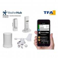Klimato stebėjimo sistema su lietaus ir vėjo matuokliu TFA WEATHERHUB