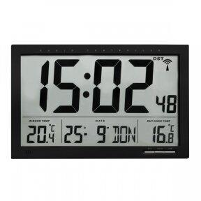 Skaitmeninis radijo bangomis valdomas XL dydžio laikrodis su vidaus ir lauko termometru TFA 60-4510-01