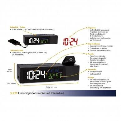 Radijo bangomis valdomas projekcinis žadintuvas su vidaus termometru-higrometru bei išmaniojo telefono pakrovėju TFA SHOW 3
