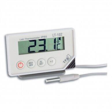 Profesionalus šaldytuvo - šaldiklio termometras su 300 cm ilgio laidu su zondu, aliarmu ir max/min funkcija SU METROLOGINE PATIKRA TFA 30-1034