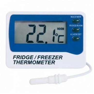 Pristatymas 1-2 d.d.! Šaldytuvo - šaldiklio termometras su aliarmu, max/min funkcija, 1 m zondu ETI 810-210 su METROLOGINE PATIKRA
