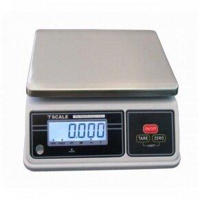 Sertifikuotos elektroninės svarstyklės su metrologine patikra TSCALE SW-30K-MR iki 15/30 kg svorio. Padalos vertė: 5/10 g. Platformos matmenys: 200x260 mm