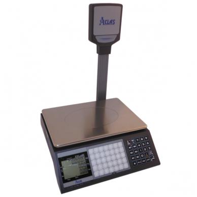 Sertifikuotos belaidės elektroninės svarstyklės su metrologine patikra, ACLAS PS1DP iki  15 kg svorio. Padalos vertė: 5 g. Platformos matmenys: 330x230 mm. Su stovu.