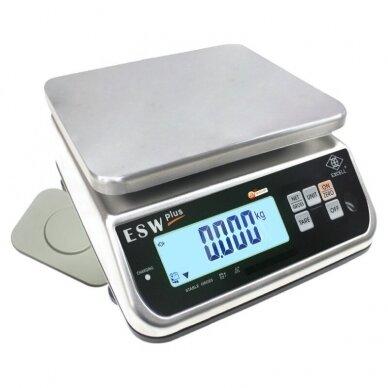 Sertifikuotos elektroninės belaidės vienetus skaičiuojančios svarstyklės su metrologine patikra ESW Plus Wipower 3/6 kg svorio. Padalos vertė: 1/2 g