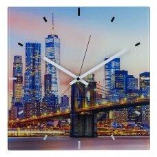 Stiklinis analoginis radijo bangomis valdomas laikrodis TFA NEW YORK