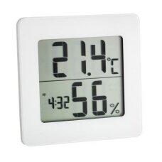 Termometras - higrometras su laikrodžiu, data ir žadintuvu SU METROLOGINE PATIKRA TFA 30-5033-02