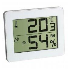 Pristatymas 1-2 d.d.! Termometras - higrometras  TFA 30.5027.02 Baltas, SU METROLOGINE PATIKRA