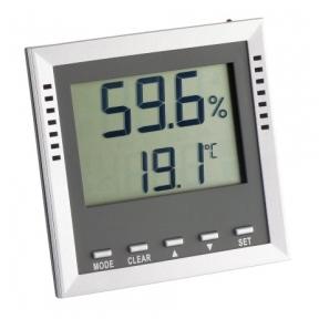 Profesionalus termometras - higrometras KLIMA GUARD TFA 30.5010, su pasirenkamu garsiniu signalu, rasos taško nustatymu