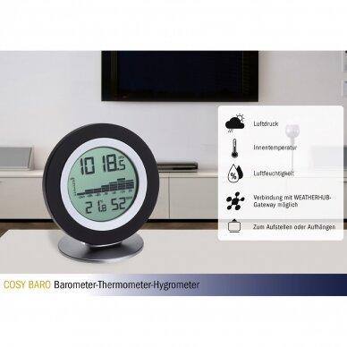 Bevielė orų stotelė: termometras-higrometras-barometras TFA COSY BARO 3