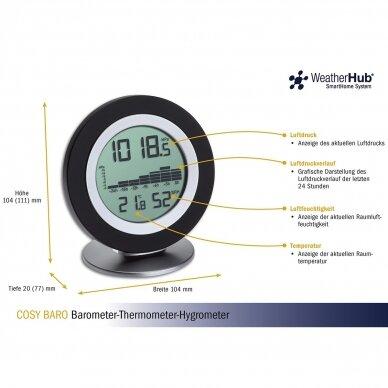 Bevielė orų stotelė: termometras-higrometras-barometras TFA COSY BARO 2