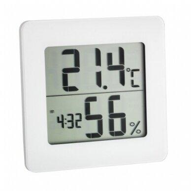 Termometras - higrometras su laikrodžiu, data ir žadintuvu TFA 30-5033-02