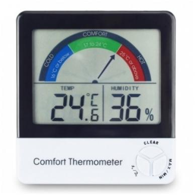 Termometras-higrometras su max/min funkcija ir komforto lygio indikatoriumi ETI 810-135